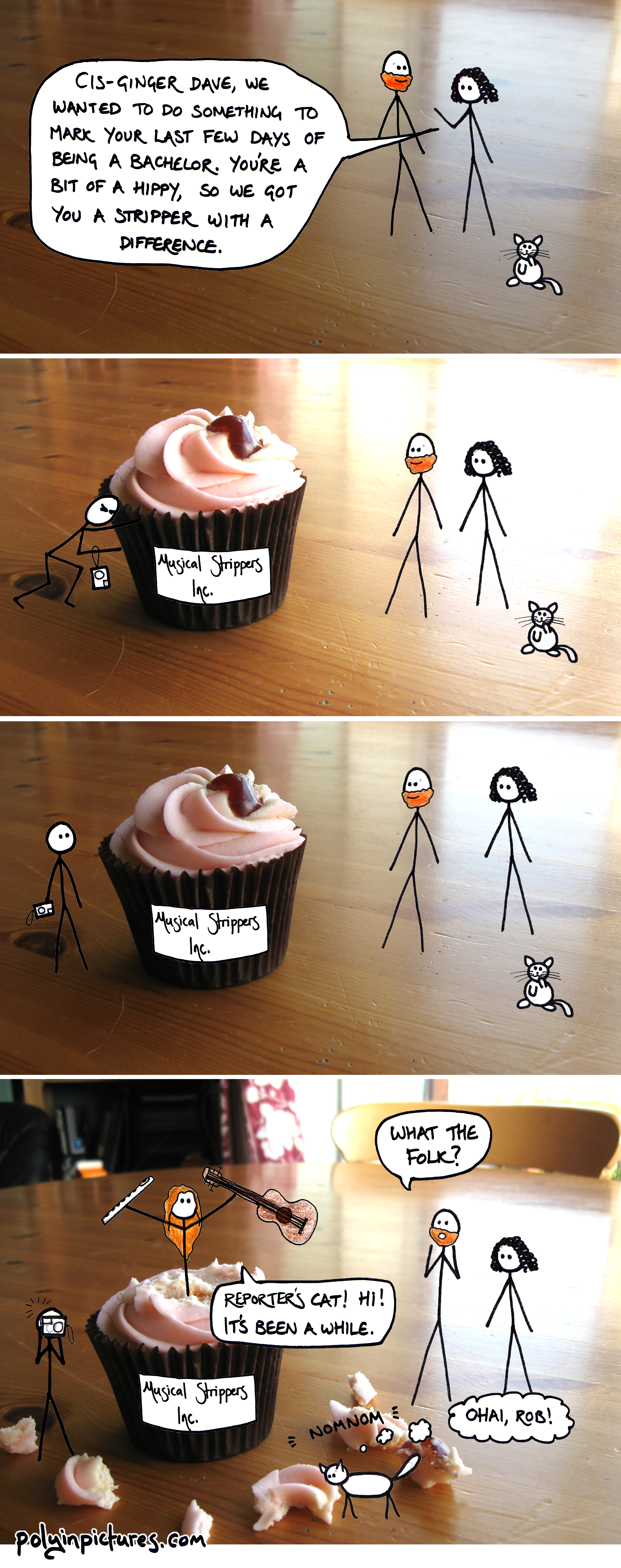 This comic was a great excuse to buy some cake. Also, I ate the cake as soon as I'd taken the photos but then I wanted to eat it again when I was making the comic.